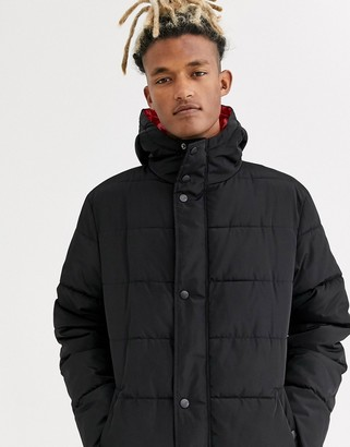 Sixth June longline puffer jacket with hood in black
