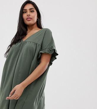 Asos DESIGN Curve mini reversible cotton slub smock dress-Green