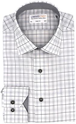Lorenzo Uomo Box Plaid Trim Fit Dress Shirt