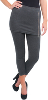 Magid Dark Gray Zip-Accent Skirted Leggings - Plus Too