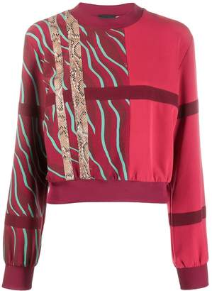 Just Cavalli contrast panelled stripe sweatshirt