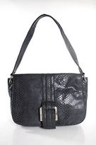 Tahari Dark Gray Faux Suede Embossed Snake Print Single Strap Shoulder Handbag