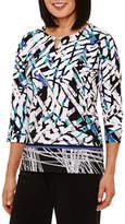 Alfred Dunner Closet Case 3/4 Sleeve Crew Neck T-Shirt-Womens