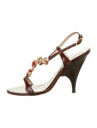 Giuseppe Zanotti Leather Crystal Embellishments T-Strap Sandals