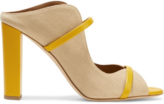 Malone Souliers Norah 100 Leather-trimmed Linen Mules