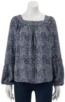 Lauren Conrad Women's Shirred Peasant Top