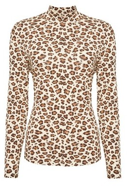 Dorothy Perkins Womens Vila Multi Colour Leopard Print Long Sleeve Top, Leopard