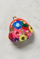 Anthropologie Sequined Floral Pouch