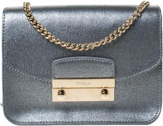 Furla Metallic Silver Leather Mini Metropolis Crossbody Bag