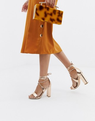 Glamorous Rose Gold Ankle Tie Block Heeled Sandals