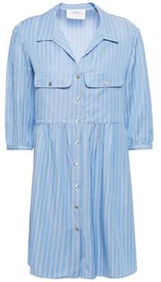 BA&SH Gathered Striped-twill Mini Shirt Dress