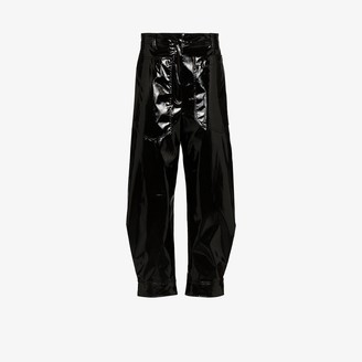 Tibi Patent press popper tapered trousers