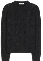 Valentino Crystal-embellished Cable-knit Wool And Cashmere Sweater