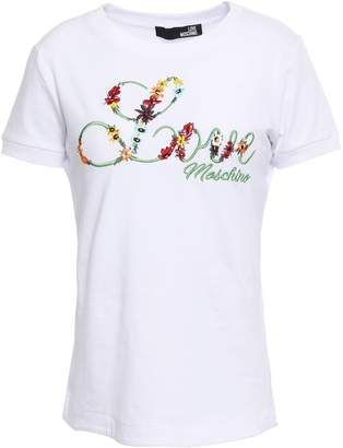 Love Moschino Embroidered Stretch Cotton-jersey T-shirt