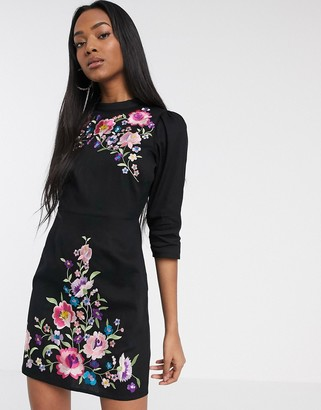 Asos DESIGN high neck embroidered mini dress in black