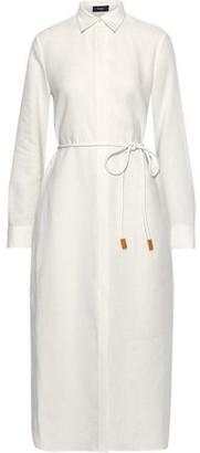 Theory Belted Linen Midi Shirt Dress