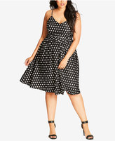 City Chic Trendy Plus Size Polka-Dot A-Line Dress