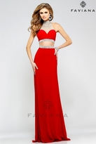 Faviana Bejeweled Illusion Two-Piece Long Evening Gown S7511