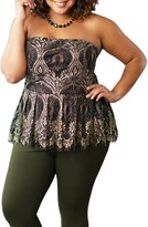 Maree Pour Toi Bustier Strapless Peplum Metallic Lace Top