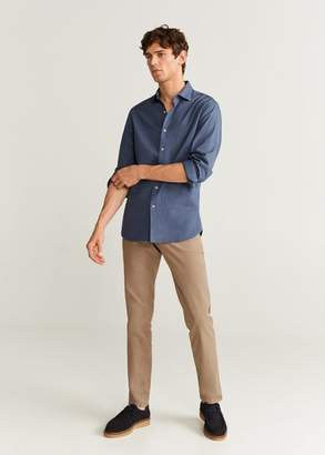 MANGO Slim fit herringbone shirt