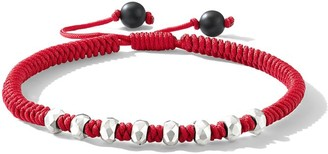 David Yurman Spiritual Beads Fortune Sterling Silver Woven Cord Bracelet