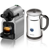 Nespresso Inissia A+D40-US-SI-NE Bundle with Aeroccino Plus Milk Frother in Silver