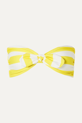 Verdelimon VerdeLimon - Malibu Knotted Striped Bandeau Bikini Top - Yellow