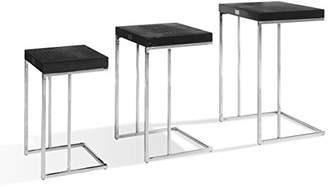 Limari Home Barcaro Collection Modern Style Living Room Crocodile Lacquer End Table Set with Stainless Steel Legs