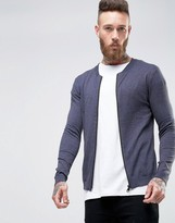 Asos Knitted Cotton Bomber in Muscle Fit