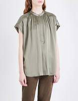 Vince Pleated silk top
