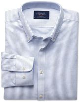 Extra Slim Fit Blue Stripe Washed Oxford Cotton Formal Shirt Size Medium