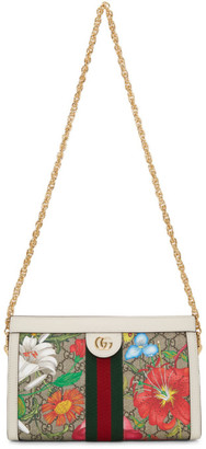 Gucci White and Multicolor Small GG Flora Ophidia Bag