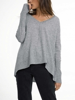 White + Warren Cashmere Asymmetrical Hem Wide V Neck