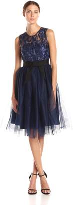 Donna Morgan Women's Lace Cocktail Dress with Illusion Neckline