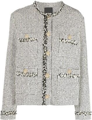 Pinko Boucle Printed Cropped Jacket