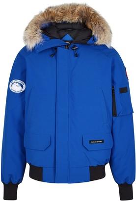 Canada Goose Chilliwack PBI Blue Fur-trimmed Shell Coat