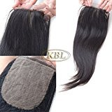 "KBL Grade 7A Brazilian Hair Silk Base Closure 4x4 Free Part 180% Density Unprocessed Virgin Straight Human Hair Natural Black (12"")"