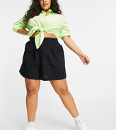 Thumbnail for your product : ASOS DESIGN Curve flippy cotton short with shirred waist in black