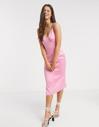 Fashion Union midi cami slip dress in satin