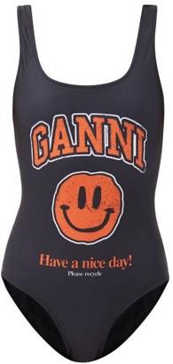 Ganni Smiling Face-print Recycled-fibre Swimsuit - Black Print