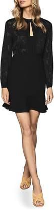Reiss Pippa Burnout Detail Long Sleeve Minidress