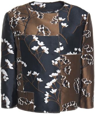 Oscar de la Renta Patchwork-effect Floral-jacquard Jacket