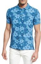 Isaia Tropical Flora Batik-Print Polo Shirt, Blue