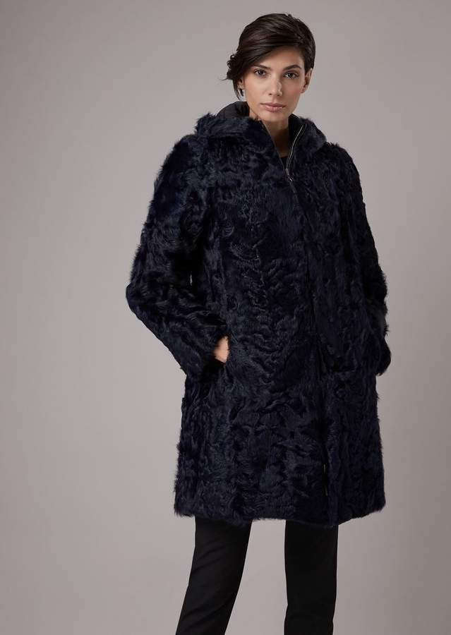 Giorgio Armani Reversible Coat With Tianjin Lamb Fur Hood