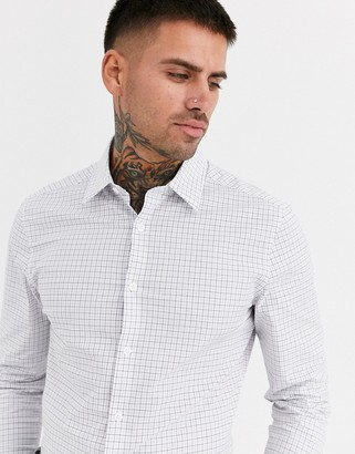 Asos Design DESIGN skinny fit check shirt in blue & brown grid-White