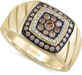 Effy Men's Brown and White Diamond Ring (5/8 ct. t.w.) in 14k Gold