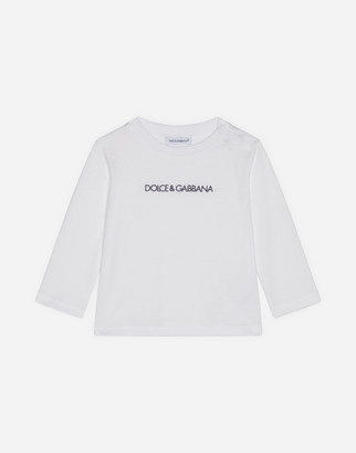 Dolce & Gabbana Long-Sleeved Jersey T-Shirt With Logo Embroidery