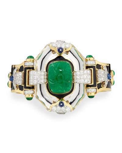 David Webb Emerald, Sapphire and Diamond 18k Gold Bracelet