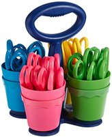 Acme Scissor Caddy with 24 Blunt Scissors Assorted, Acrylic, Multicoloured