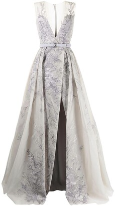 Saiid Kobeisy Floral-Embroidered Gown